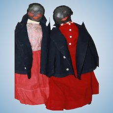 Black Antique Sister Dolls African-American Cloth Dolls