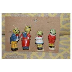 4 Antique Frog Nodders Still On Card