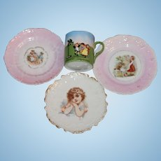 4 Antique Plates, Cup for  your Bisque Doll