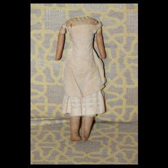 Early Doll Body China,  Paper Mache Head