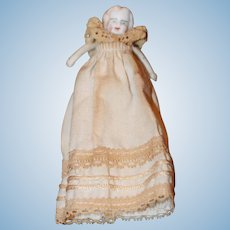Antique Bisque Baby in Baptismal Gown