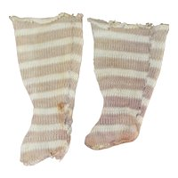 Sm. Hand Made Stockings Antique Cloth, China Doll
