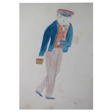 Folk Art 1800s Drawing/Watercolor Schoolboy