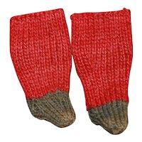 Early Sm Knit Stockings China, Cloth Doll