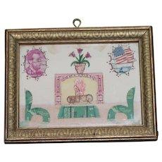 Antique Stamps Picture Dollhouse Size Folk art