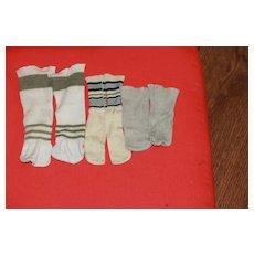 3 Pair Vintage Doll Socks Stockings