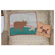 Doll Size Blanket, Pillow Folk Art 1930s