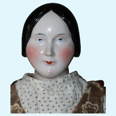 20in. Kinzbach Hands 1840s Coiled Bun Antique China Doll