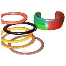 5 Bakelite Bracelets Cuff