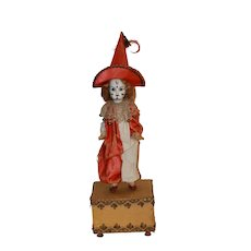 French Bisque Clown on Music Box Verlingue