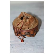 Antique Miniature Basket and Sock