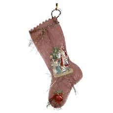 Antique Christmas Stocking for Dolls Tree Ex. Cond.