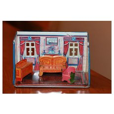 Antique Metal Marx Doll House, Furniture