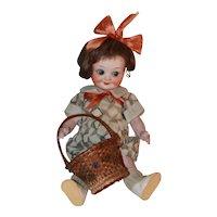 Antique Miniature Painted Basket W/ Swivel Handle