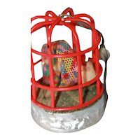 Celluloid Bird Cage Toy w/Spun Cotton Chicks Toy Still Works