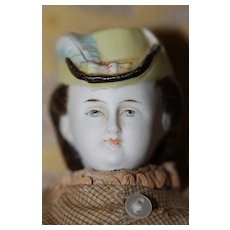 9in.HTF Antique Hatted Parian Clothing