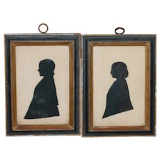 Mother, Daughter Signed Antique Silhouettes
