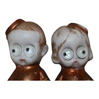 Bellhops W/Google Eyes German Bisque Miniature Doll
