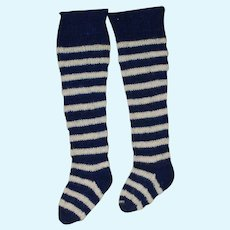 Antique Knit Striped Stockings for Early Cloth, China, Mache Doll