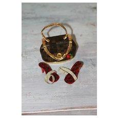 Fancy Red/Black Shoes, Purse Miss Revlon Doll