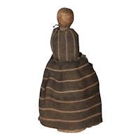 Very Early Hand Carved Wood Pocket Doll w/Pivoting Head