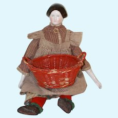 Old Wicker Laundry Basket For Antique Doll