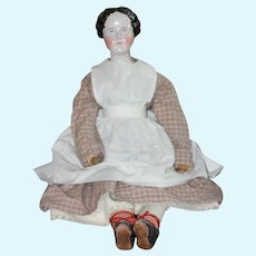 28 in. 1840s Braided Bun China Doll Early Body