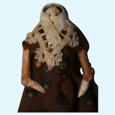 Miniature 1850s Grodnertal Wood Doll A/O