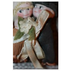 21/2 in. Antique Kewpie Bride and Groom
