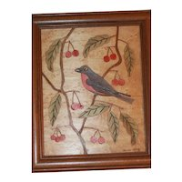 Folk Art Painting Carved, Colored Bird, Cherries on Birds Eye Maple