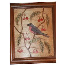 Folk Art Painting Carved, Colored Bird, Cherries on Birds Eye Maple