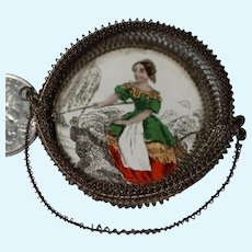 Antique Miniature Basket for French Fashion Doll