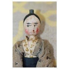 Oriental Dress Antique Wood Doll