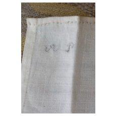 Early Inked Monogram Doll Hankie