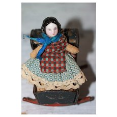 Early Make Do China Doll/Heavy Doll Cradle