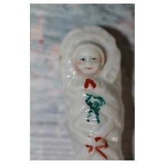 Antique Porcelain Swaddled Baby Whistle Doll