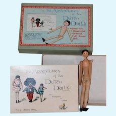 Vintage Wood Dutch Doll, Book Original Box Florence K. Upton
