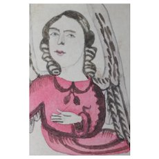 Antique Ink/Watercolor Painting of an Angel