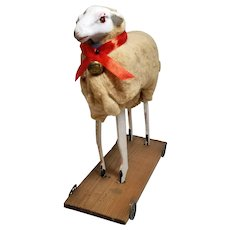 Fabulous Extra Large German Wooly Putz Sheep on Wheels