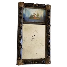 Antique Diminutive size Federal Period Mirror with Reverse Painting of Child