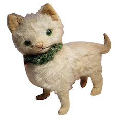 Sweet Vintage German White Mohair Cat with Green Eyes