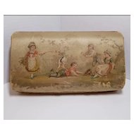 Lovely Antique Victorian French Cloth Candy Box with Children