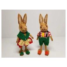 Pair of West German Kunstlershutz Flocked Rabbits