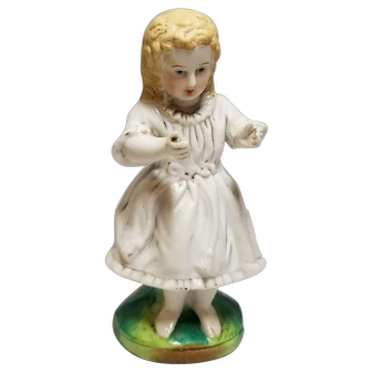 Sweet Little German Bisque Figurine of a Young Girl