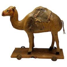 Sweet Vintage German Putz Camel on Wheels