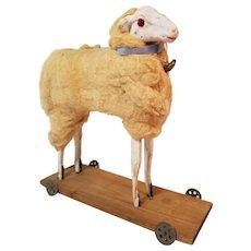 Wonderful Large Antique German Putz Wooly Sheep Pull Toy