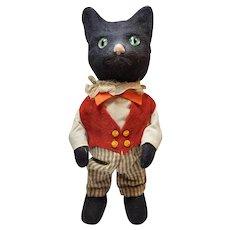 Sweet German Dressed Black Cat Mechanical Walker