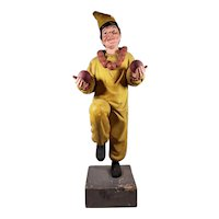 FABULOUS Large Wood Carved Painted Jester on Base