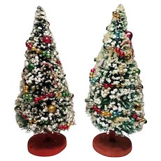 Lovely Pair of Vintage Decorated Bottle Brush Christmas Trees