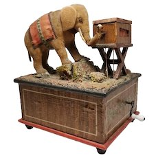 Sweet Early German Velveteen Elephant Music Box